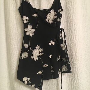 Asymmetrical Floral-Embroidered Romper